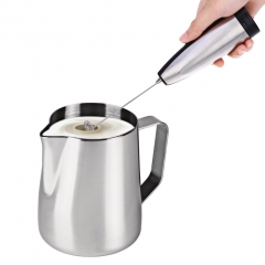 Stainless Steel Electric Milk Frother Mixer Handhold Egg Foamer Stirrer Silver one size