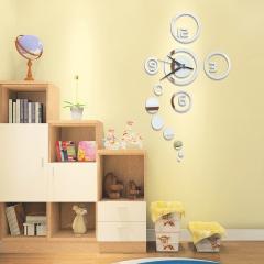 DIY Circles Acrylic Mirror Wall Clock Stickers Home Decor