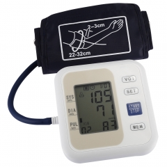 LZX - B1681 Upper Arm Style Electronic Blood Pressure Monitor Live Voice with LCD Display Systolic Diastolic Pulse Earthy one size