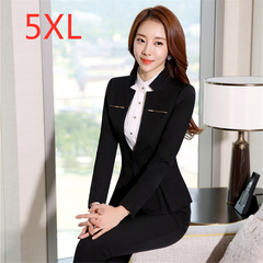 2019 Plus Size New Style OL Women's Office Professional Suit, Pants, Shirts and Skirts black,blazer and pants 5xl