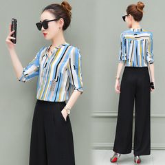 Plus Size Women's Fashion Stripe Long Sleeve Shirt Fashionable Two-piece Broad-legged Pants Suit style2 xl