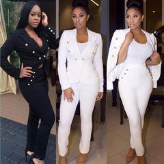 2019 New Two Pieces White Slim Blazer Suits Ladies Office Wear Suit Women Business Suits white xl