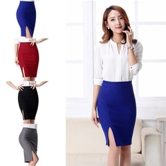 Women's Business Suits Above knee dress Package hip skirts One pace skirt Skirts Dress Bottoms Red m