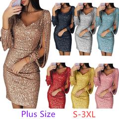 2019 New Plus Size Women's Skirt Fashion V-neck Sexy Tassel Slim Dress xl silver