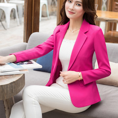 Plus Size Trendy Casual Women Turn Down Collar Pure Color Pocket Slim Business Blazer Suit Jacket red s