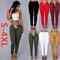 2019 New Women's Multi-bag Drawstring Tie Casual Pants High Waist Fashion Tights(S-4XL) army green m