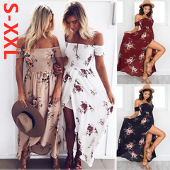New Arrival Fashion Womens Party Wrap Chest Off Shoulder Loose Beach Printed Slim Sexy Maxi Dress beige xxl