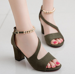 2019 New Fashion Lady's Summer Bead Low Heel Wedge Sandal black 35
