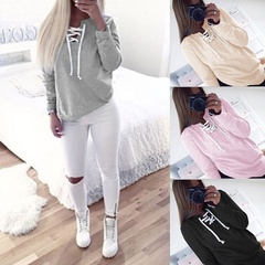 Women Bandage Fleeve Hoodies Lady's Casual Sweatshirt Hoody Woman Sport Pullovers Shirts black s