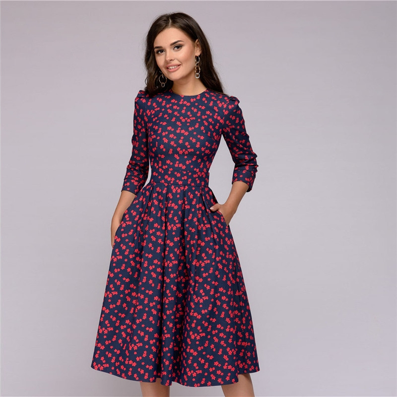 Womens Dresses 2019 Fall Casual Printing Party Dress Ladies Autumn Summer Vintage Christmas Dresses M Wine Red