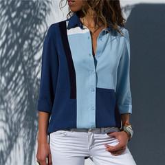 Women Blouses 2019 Fashion Long Sleeve Turn Down Collar Office Shirt Chiffon Blouse Shirt Casual blue S