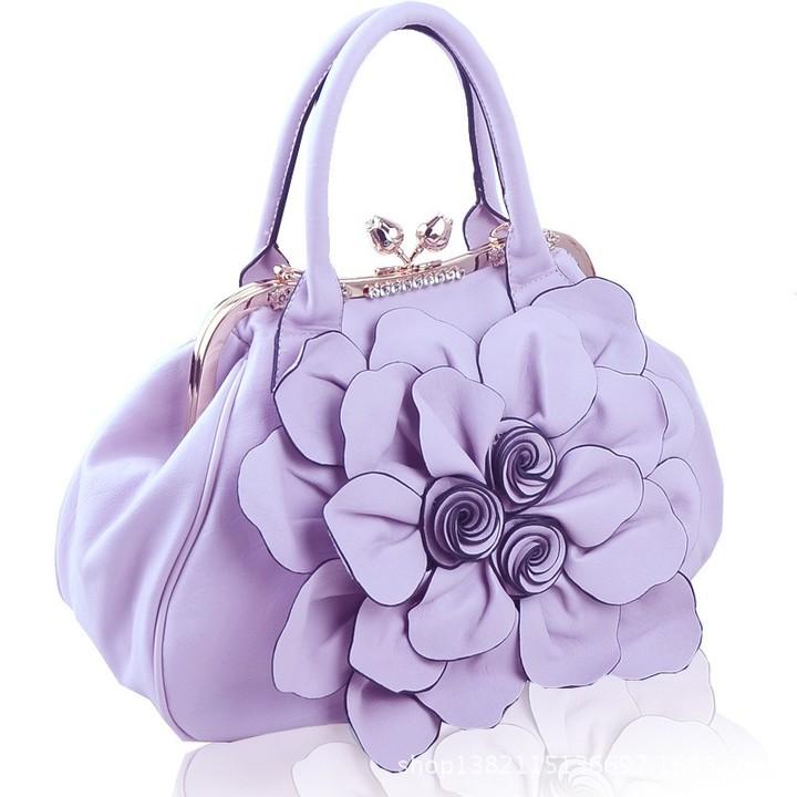 Quality flower handbags women s bag ladies bag tide female sweet fashion  handbag PURPLE NORMAL
