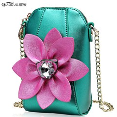 Mobile phone bag female  new mini bag chain rhinestone flower contrast color single GREEN NORMAL