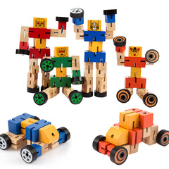 4Pcs Wooden Transformation Robot Changeable Car Action Figure Toys normal normal