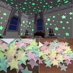 100PC 3*3cm Kids Bedroom Fluorescent Glow In The Dark Stars Wall Stickers normal normal