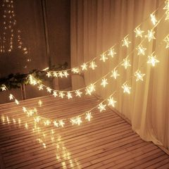 3M Stars Warm White LED Fairy Curtain String Light Wedding Christmas Decor Lamps Party  Xmas Decor 1 normal normal