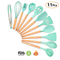 11 Pieces Silicone Cooking Utensils Set Kitchen Cooking Tools Set With Natural Wooden Handle
