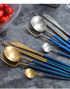 Stainless Steel Tableware Set Black Rose Gold  Food Dinnerware Sets knife Forks Black Cutleries 4pc