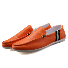 Men Flats Shoes Leather Loafers Driving Mocassin Slip On Shoes Male Summer Casual Footwear Camel gray 43=26.5cm