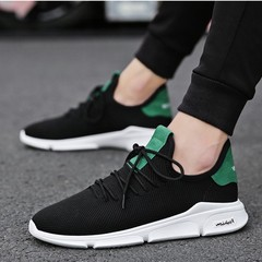 New Sports and Leisure Men's Shoes Lightweight Breathable Non-slip Tide Mesh Sneakers 153 black 44=27cm