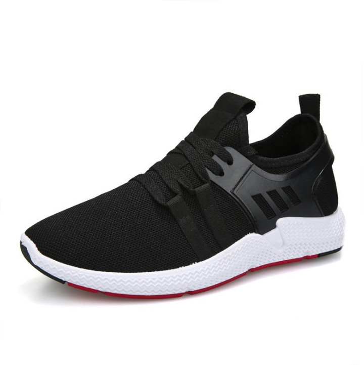 Brand New Casual Sport Shoes Breathable Flat Sneakers Lace Up Running Shoes For Outdoor Training 429 black 40=25cm