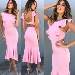 2019 Burst promotion, low price, snap up, pink, dress pink S