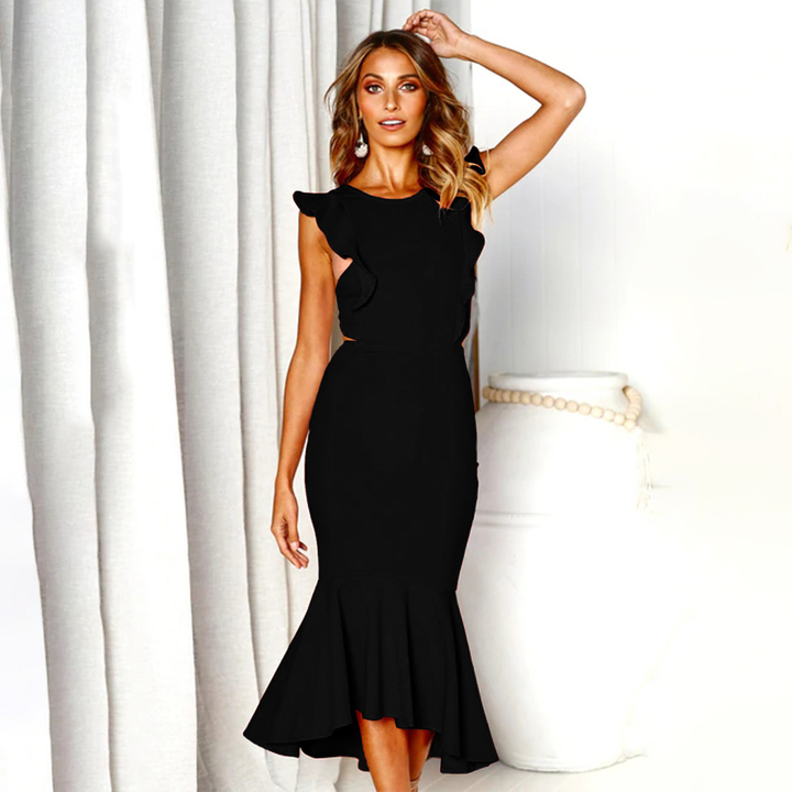 2019 New product, low price buying, sleeveless hanging neck, splicing, dress black xl 29