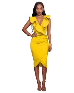 2019 Blast buy, limited to 50 items per day, V neck repair dress, multi-color yellow s
