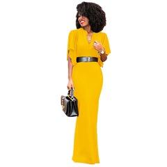 2019 Low price buying, explosion, repair long V-collar dress, multi-color yellow s