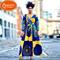 2019 New new, striped, swagger, dress, orange-yellow skirt yellow s