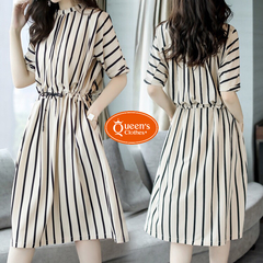2019 New, Striped, Waist, Leisure, Dress, Special white m