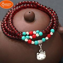 New bracelet, stylish, cute Kitty cat, multi-layer crystal bracelet, full 699 complimentary red Beads diameter 0.4 CM