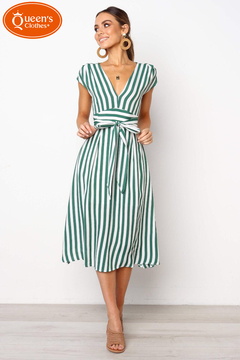 2019 new specials, network-based minimum price, good quality, snap up, striped dress green l