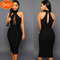 2019 New product, low price buying, sleeveless hanging neck, splicing, dress black s