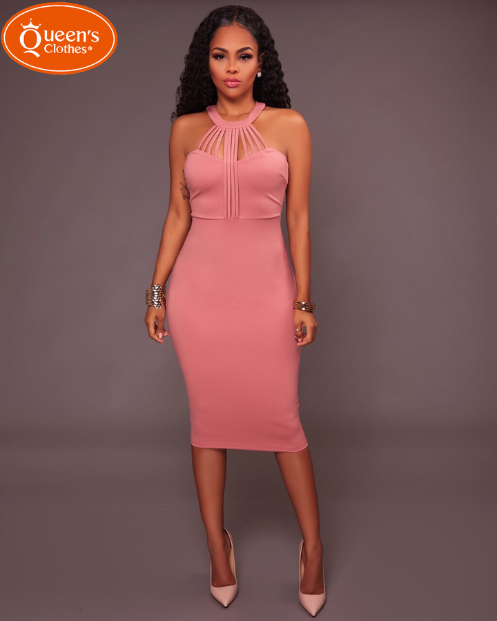 2019 new dress, hollow, round collar, hip skirt, sexy, special price, low price promotion pink s