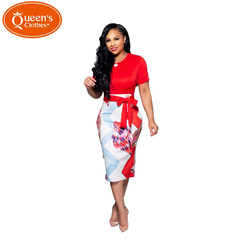 2019 Summer new, sales models, special offers, prints, professional skirts, dresses, short sleeves s red