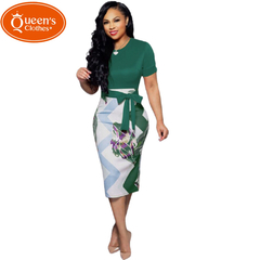 2019 Summer new, sales models, special offers, prints, professional skirts, dresses, short sleeves m green