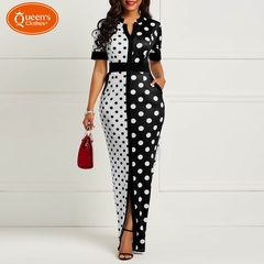 2019 new dress, women's dress, black and white wave dot, tie waist dress, open skirt, sales model black s