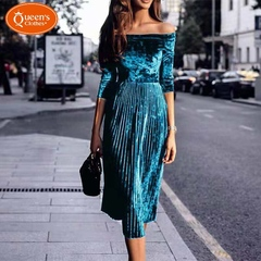 2019 new women's dress, a word shoulder pressure wrinkled dress, dress, strapless skirt s green