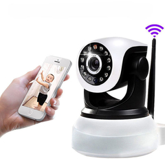 E6811 1.0MP H.264 Wireless IP Camera Support TF Card with Pan-Tilt Alarm Function White with Black One Size
