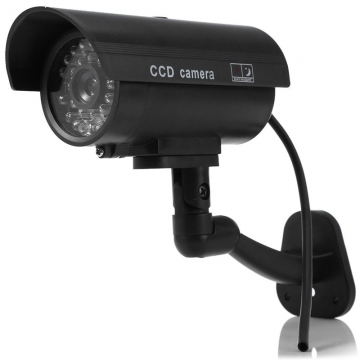 Small Dummy Camera CCTV Sticker Surveillance 90 Degree Rotating with Flashing Red LED Light Black One Size