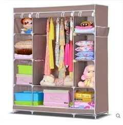 Wooden Frame portable wardrobe Brown