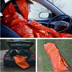 1pc Outdoor Camping Equipment Warm Watereproof Orange Emergency Sleeping Bag orange