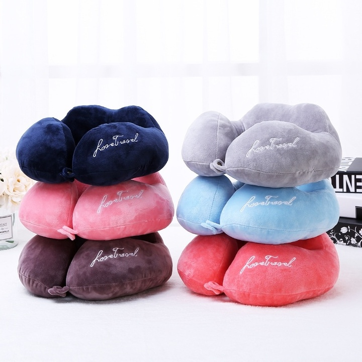 1PC Velvet PP Cotton U-shaped Neck Pillow Office Nap Travel Neck Pad grey