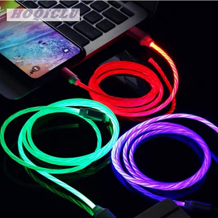 HOQICLU Luxury Data Cable Phones Accessories Colorful Gradient  Line For Android HUAWEI SAMSUNG OPPO green type-c