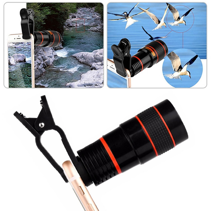 Universal 8X Zoom Mobile Telescope Lens Telephoto External Smartphone Camera Lens for phone tablet black one size