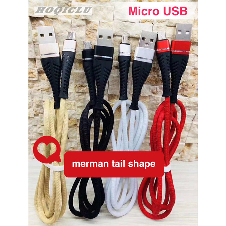 HOQICLU Data Cable Phones Accessories Merman Tail Fast Charging For Android HUAWEI SAMSUNG OPPO gold type-c