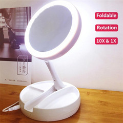 Portable LED Lighted Makeup Mirror Vanity Compact Mirrors Cosmetic Mirror 10X Magnifying Glasses white 15.5*15.5*5