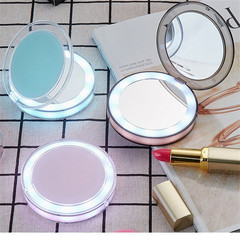 Touch Sensitive LED Cosmetic Mirror USB Charging Folding Mirror Mini Portable Lamp pink 8.5*8.5*2