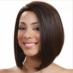 Wigs Bob Wig Bangs Wigs Short Straight Hair Heat Resistant Fiber Synthetic Black one size